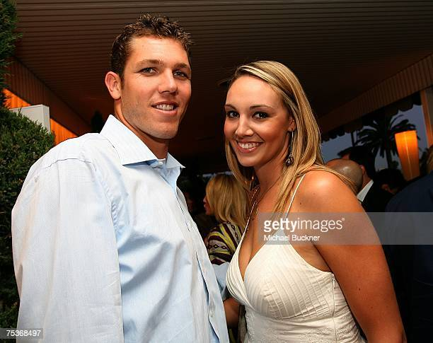 Los Angeles Laker Luke Walton and girlfriend Bre Ladd attend the opening of NINETEEN12 at the Beverly Hill Hotel on July 11 2007 in Beverly Hills...