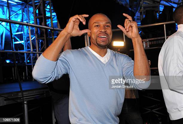 Los Angeles Laker point guard Derek Fisher attends the Cartoon Network Hall of Game Awards held at The Barker Hanger on February 21 2011 in Santa...