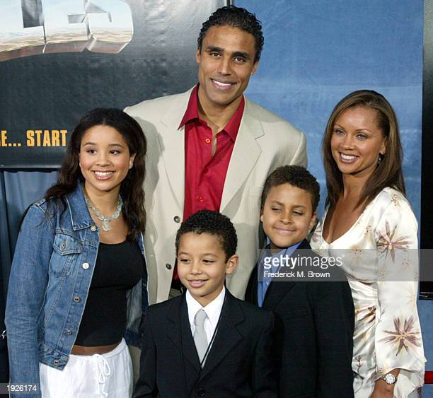 Los Angeles Laker Rick Fox and his family attend the film premiere of Holes at the El Capitan Theater on April 11 2003 in Hollywood California The...