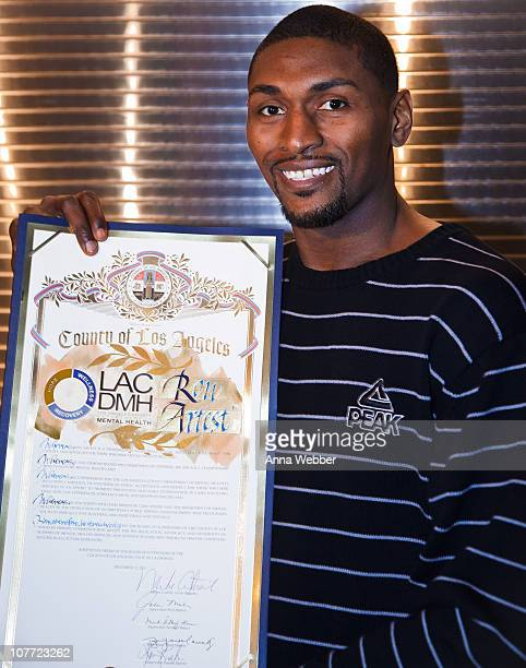 """Los Angeles Laker Ron Artest debuts his PSA """"You Can Do It"""" at AEG's Season Of Giving Mental Health Awareness Night with Ron Artest at L.A. LIVE on..."""