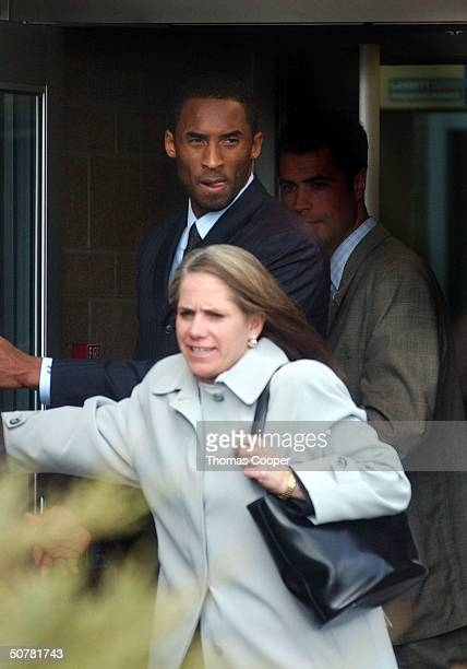 Los Angeles Lakers basketbal player Kobe Byrant leaves the Eagle County Justice Center with his attorney Pamela Mackey after hearings on April 28...