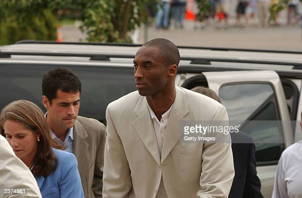 Los Angeles Lakers basketball player Kobe Bryant arrives at the Eagle County Courthouse after for his first court appearance August 6, 2003 in Eagle,...