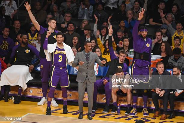 Los Angeles Lakers bench celebrate three point basket against the San Antonio Spurs on December 5 2018 at STAPLES Center in Los Angeles California...