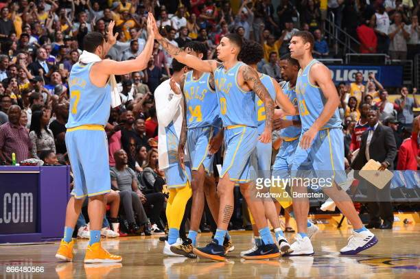Los Angeles Lakers celebrate during the game against the Washington Wizards on October 25 2017 at STAPLES Center in Los Angeles California NOTE TO...