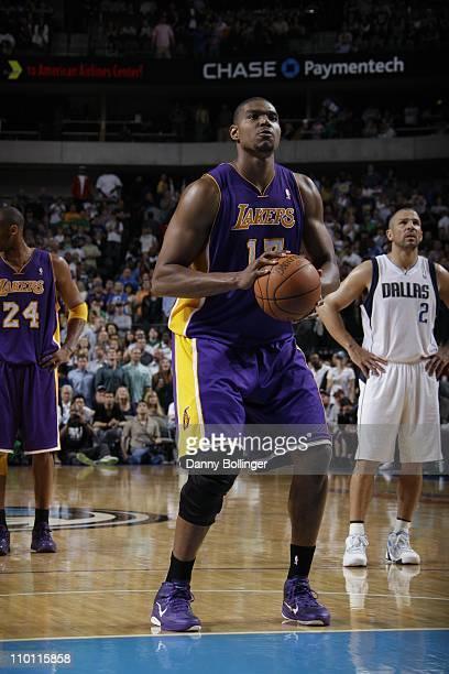 Los Angeles Lakers center Andrew Bynum shoots a free throw during the game against the Dallas Mavericks on March 12 2011 at the American Airlines...