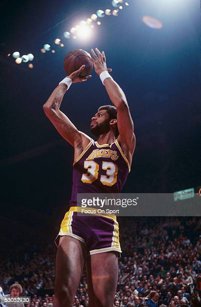 Los Angeles Lakers' center Kareem Abdul Jabbar makes a jumpshot NOTE TO USER User expressly acknowledges and agrees that by downloading and or using...