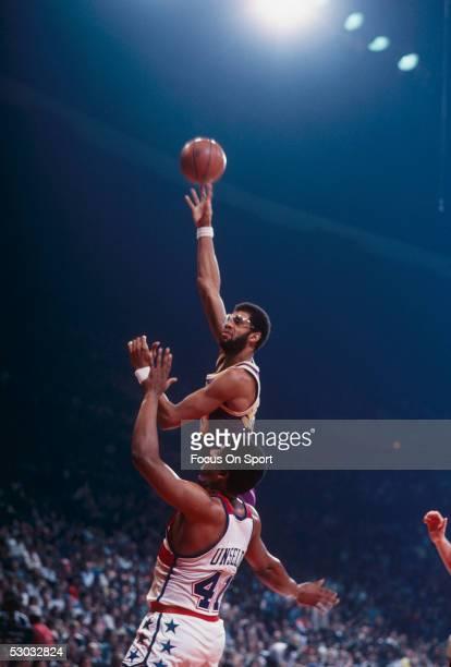 Los Angeles Lakers' center Kareem Abdul Jabbar shoots a hook shot against the Washington Bullets at Capital Centre circa 1978 in Washington DC NOTE...