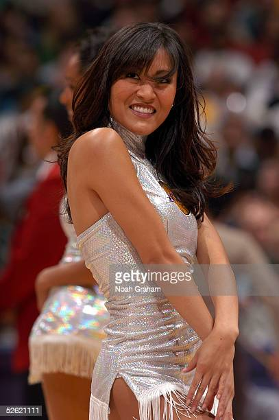 Los Angeles Lakers cheerleader performs as the Lakers host the Philadelphia 76ers during the game on March 27 2005 at the Staples Center in Los...