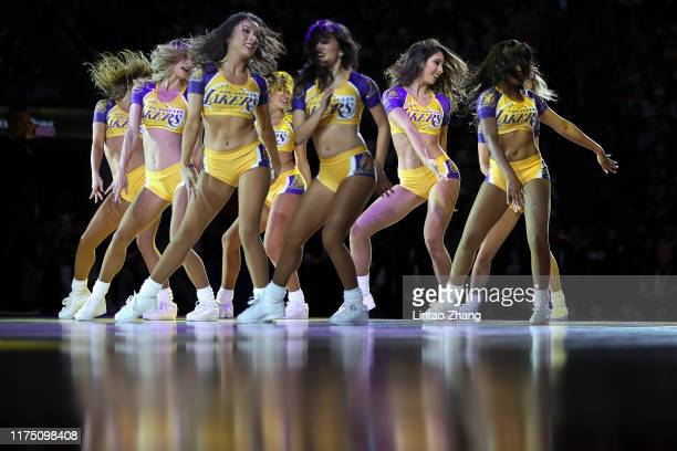 Los Angeles Lakers cheerleaders performing at halfcourt during a preseason game as part of 2019 NBA Global Games China at Mercedes-Benz Arena on...