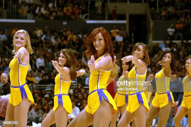 Los Angeles Lakers dancers perform during a break in the game between the Lakers and the Washington Wizards on December 16 2005 at Staples Center in...