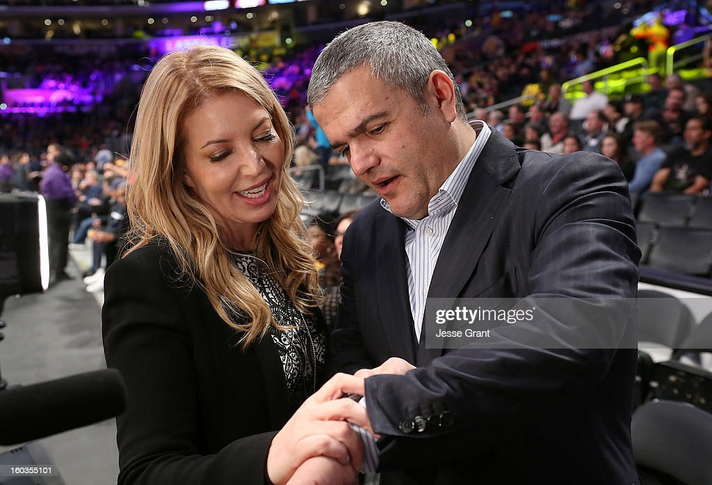 Los Angeles Lakers Executive Vice President of Business Operations, Jeanie Buss and CEO of Hublot, Ricardo Guadalupe are seen during a presentation naming Hublot the official timekeeper of the Los Angeles Lakers at Staples Center on January 29, 2013 in Los Angeles, California.