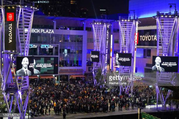 Los Angeles Lakers fans gather to mourn the death of retired NBA star Kobe Bryant at Xbox Plaza on January 26, 2020 in Los Angeles, California....