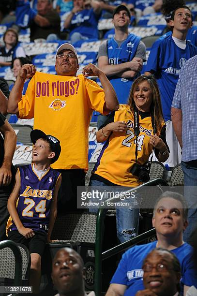 Los Angeles Lakers fans get ready for their team to take on the Dallas Mavericks in Game Three of the Western Conference Semifinals in the 2011 NBA...