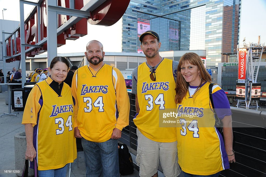 Los Angeles Lakers fans go into the game against the Dallas Mavericks at Staples Center on April 2, 2013 in Los Angeles, California.