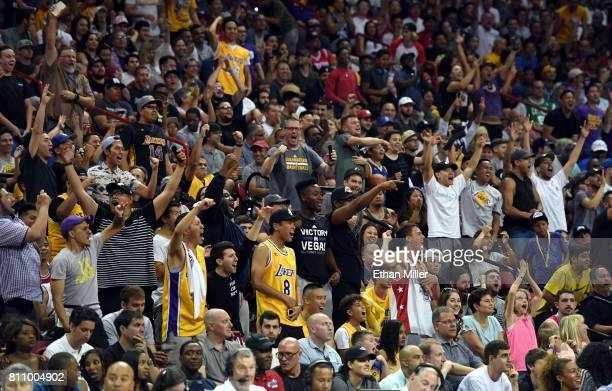 Los Angeles Lakers fans react during the team's 2017 Summer League game against the Boston Celtics at the Thomas Mack Center on July 8 2017 in Las...