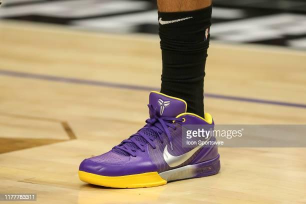 Los Angeles Lakers forward Anthony Davis Kobe sneakers before the NBA game between the Los Angles Lakers and the Los Angeles Clippers on October 22...