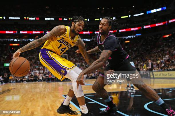 Los Angeles Lakers forward Brandon Ingram drives against Miami Heat forward James Johnson in the fourth quarter on Sunday Nov 18 2018 at...
