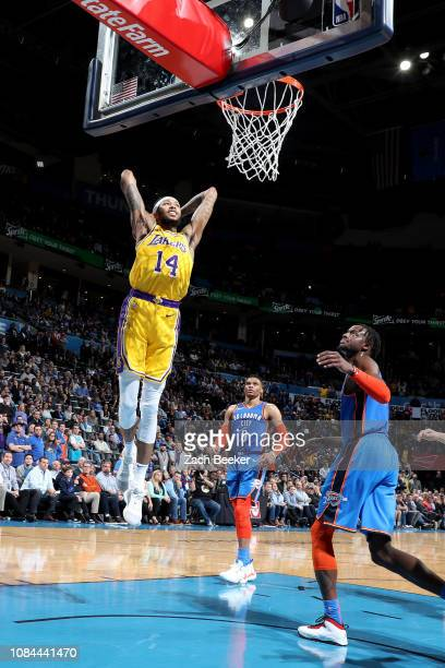 Los Angeles Lakers forward Brandon Ingram drives to the basket during the game against the Oklahoma City Thunder on January 17 2019 at Chesapeake...