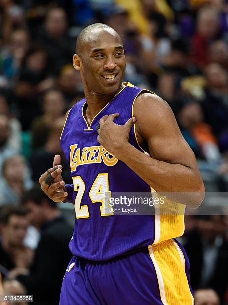Los Angeles Lakers forward Kobe Bryant smiles as he runs down the court against Denver Nuggets March 2 2016 at Pepsi Center This is Kobe's last game...