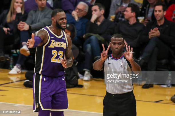 Los Angeles Lakers Forward LeBron James is called for a foul during the Denver Nuggets game versus the Los Angeles Lakers on March 6 at Staples...