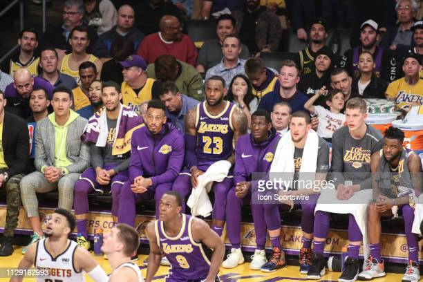 Los Angeles Lakers Forward LeBron James on the bench during the Denver Nuggets game versus the Los Angeles Lakers on March 6 at Staples Center in Los...