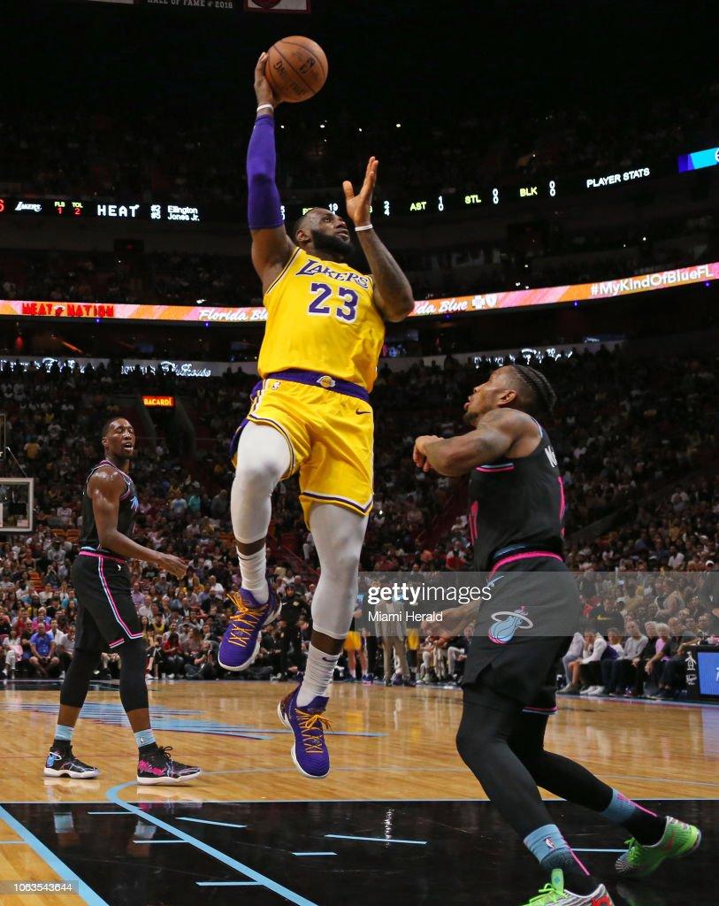 Los Angeles Lakers Forward Lebron James Shoots Over Miami