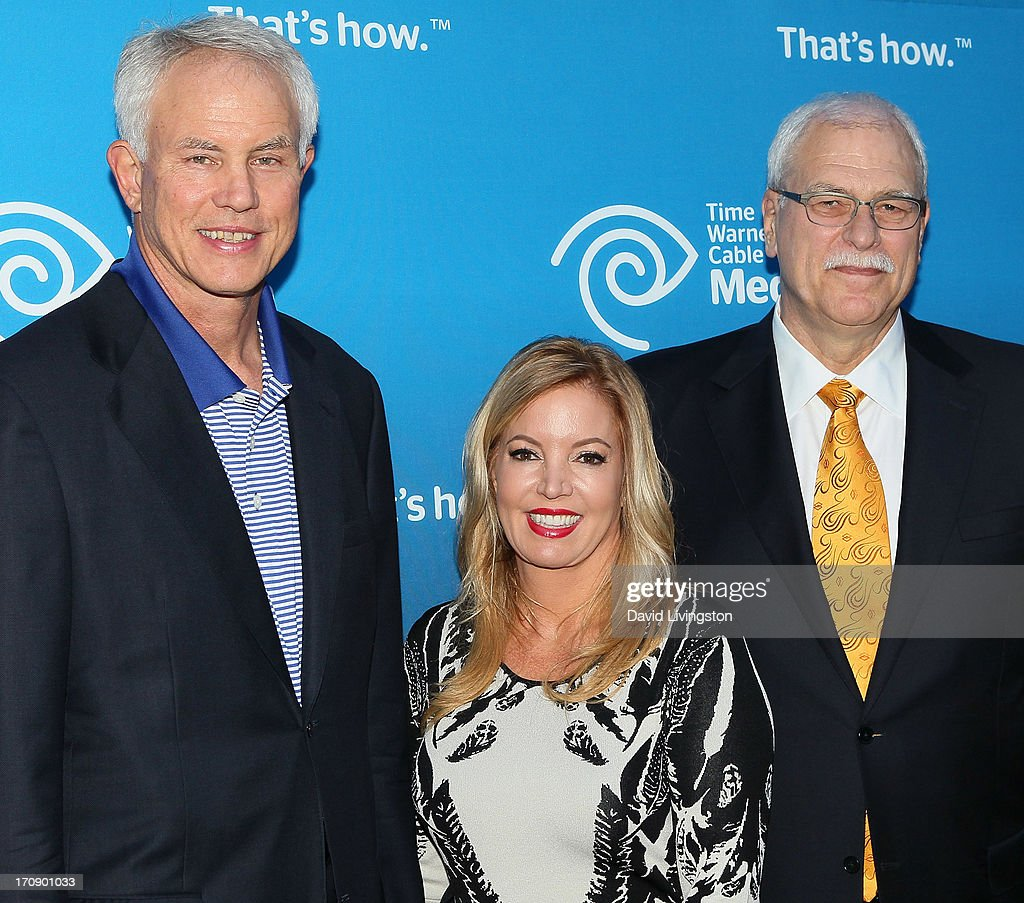 Los Angeles Lakers general manager Mitch Kupchak, Los Angeles Lakers executive vice president of business operations Jeanie Buss and basketball coach Phil Jackson attend Time Warner Cable Media (TWC Media) 'View From The Top' Upfront at Vibiana on June 19, 2013 in Los Angeles, California.