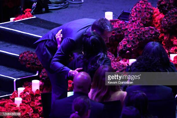 Los Angeles Lakers General Manager Rob Pelinka hugs Vanessa Bryant during The Celebration of Life for Kobe Gianna Bryant at Staples Center on...