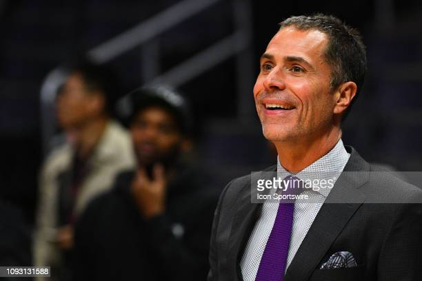 Los Angeles Lakers general manager Rob Pelinka looks on before a NBA game between the Los Angeles Lakers and the Los Angeles Clippers on January 31...
