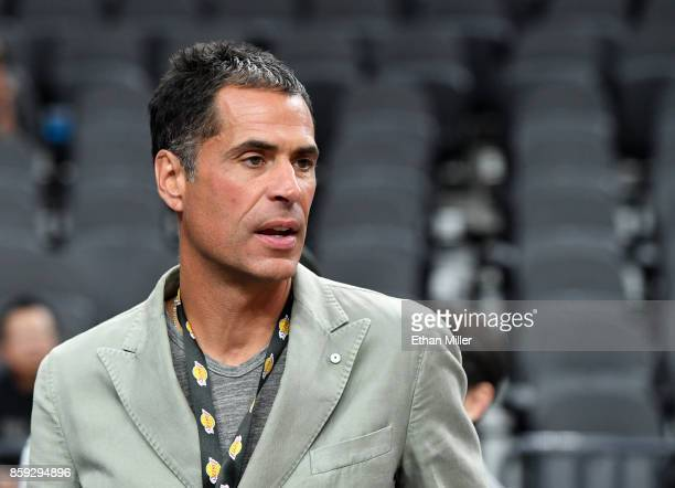 Los Angeles Lakers general manager Rob Pelinka looks on before the team's preseason game against the Sacramento Kings at TMobile Arena on October 8...
