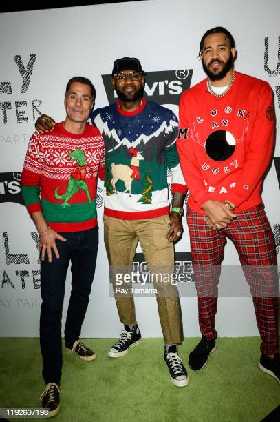 Los Angeles Lakers General Manager Rob Pelinka, NBA players LeBron James, and JaVale McGee attend the 2nd Annual Juglife Ugly Sweater Holiday Party...