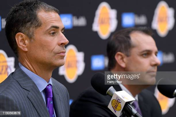 Los Angeles Lakers General Manager Rob Pelinka sits with new head coach Frank Vogel as he speaks to media at a press conference at UCLA Health...