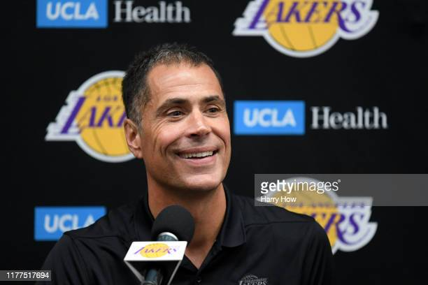 Los Angeles Lakers general manager Rob Pelinka smiles as he speaks to the press during Los Angeles Laker media day at UCLA Health Training Center on...