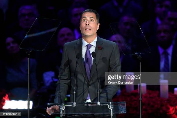 Los Angeles Lakers General Manager Rob Pelinka speaks during The Celebration of Life for Kobe Gianna Bryant at Staples Center on February 24 2020 in...