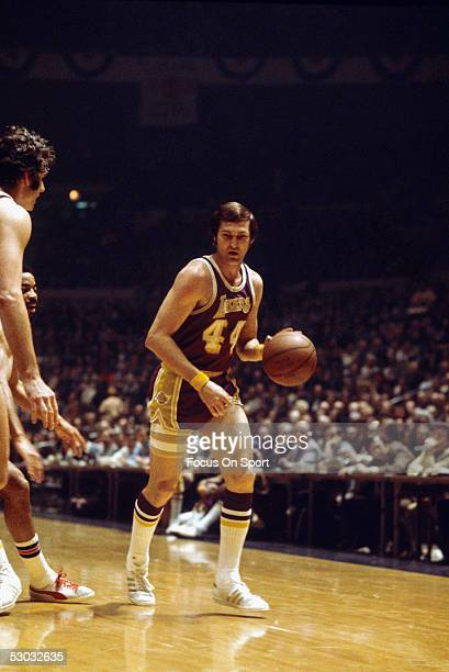 Los Angeles Lakers' guard Jerry West dribbles downcourt against the New York Knicks during a game at Madison Square Garden circa the 1960's in New...
