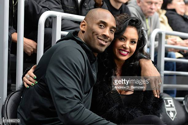 Los Angeles Lakers Guard Kobe Bryant and his wife Vanessa Bryant pose for a photo during a game between the Los Angeles Kings and the Washington...