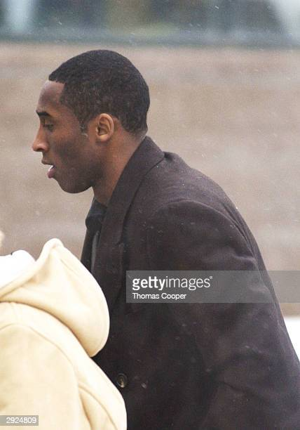 Los Angeles Lakers guard Kobe Bryant arrives for court at the Eagle County Justice Center for hearings February 3 2004 in Eagle Colorado Bryant has...