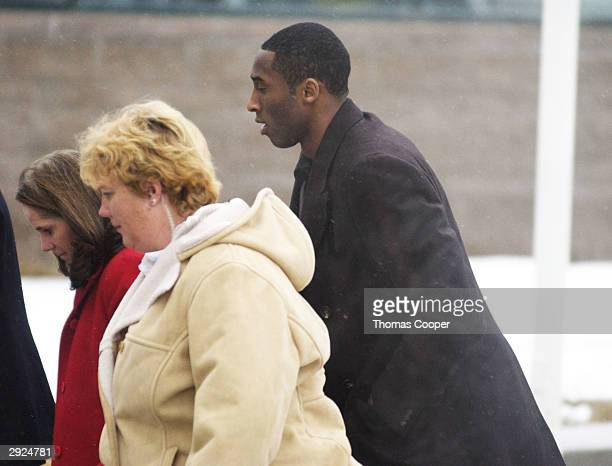 Los Angeles Lakers guard Kobe Bryant arrives with Pam Mackey for court at the Eagle County Justice Center for hearings February 3 2004 in Eagle...