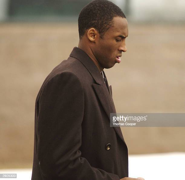 Los Angeles Lakers guard Kobe Bryant leaves for lunch during a motions hearing at the Eagle County Justice Center for hearings February 3 2004 in...
