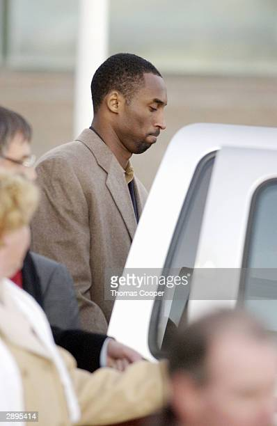 Los Angeles Lakers guard Kobe Bryant leaves the Eagle County Justice Center after a hearing January 23 2004 in Eagle Colorado Bryant has been accused...