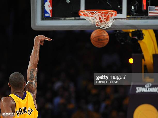 Los Angeles' Lakers guard Kobe Bryant scores during Game 1 of the NBA Finals against the Orlando Magic at the Staples Center in Los Angeles...