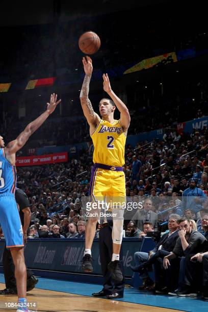 Los Angeles Lakers guard Lonzo Ball shoots a three point basket during the game against the Oklahoma City Thunder on January 17 2019 at Chesapeake...