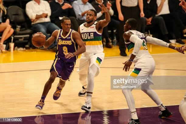 Los Angeles Lakers Guard Rajon Rondo goes through the lane during second half of the New Orleans Pelicans versus Los Angeles Lakers game on February...