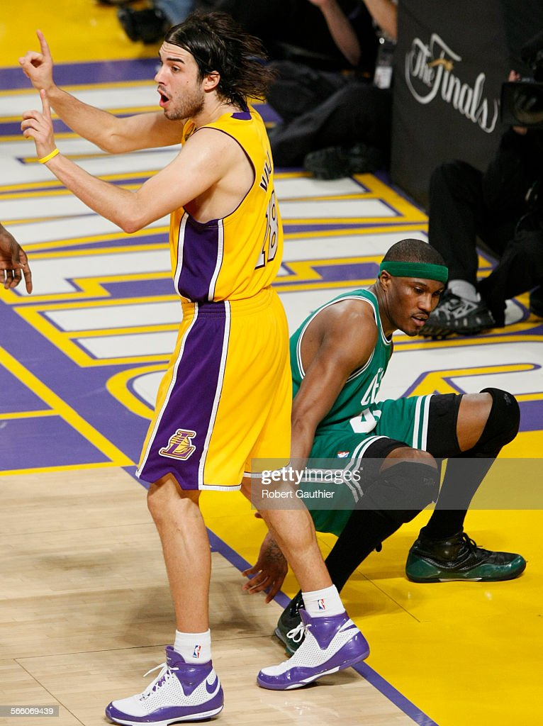 6353f29299c Los Angeles Lakers guard Sasha Vujacic turns to argue with an official  after knocking the ball