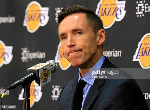 Los Angeles Lakers guard Steve Nash speaks at a news conference at the Toyota Sports Center March 24 2015 in El Segundo California The twotime NBA...