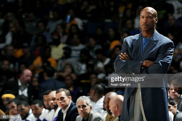Los Angeles Lakers head coach Byron Scott looks on during the game against the Golden State Warriors on October 12 2014 at Citizens Business Bank...
