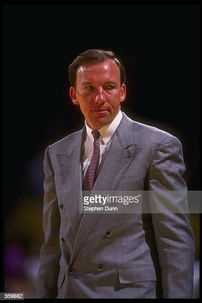 Los Angeles Lakers head coach Mike Dunleavy looks on during a game against the Utah Jazz at the Delta Center in Salt Lake City, Utah. Mandatory...