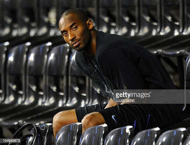 Los Angeles Lakers' Kobe Bryant looks on during a training session on October 6 2010 at Palau Sant Jordi in Barcelona The NBA champions from Los...