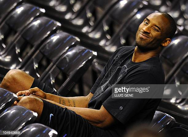 Los Angeles Lakers' Kobe Bryant winkles during a training session on October 6 2010 at Palau Sant Jordi in Barcelona The NBA champions from Los...