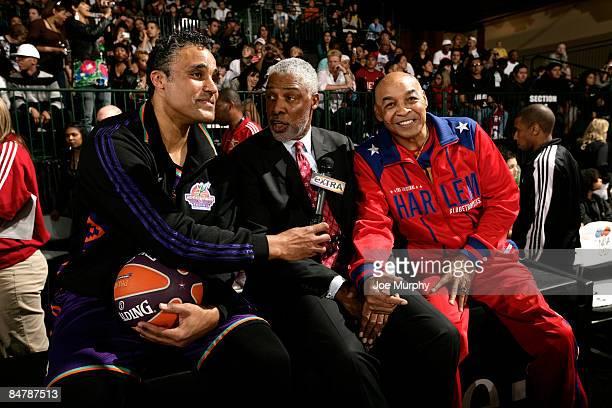 Los Angeles Lakers legend Rick Fox interviews NBA legend Julius Erving and Harlem Globetrotter Curly Neal during the McDonald's AllStar Celebrity...